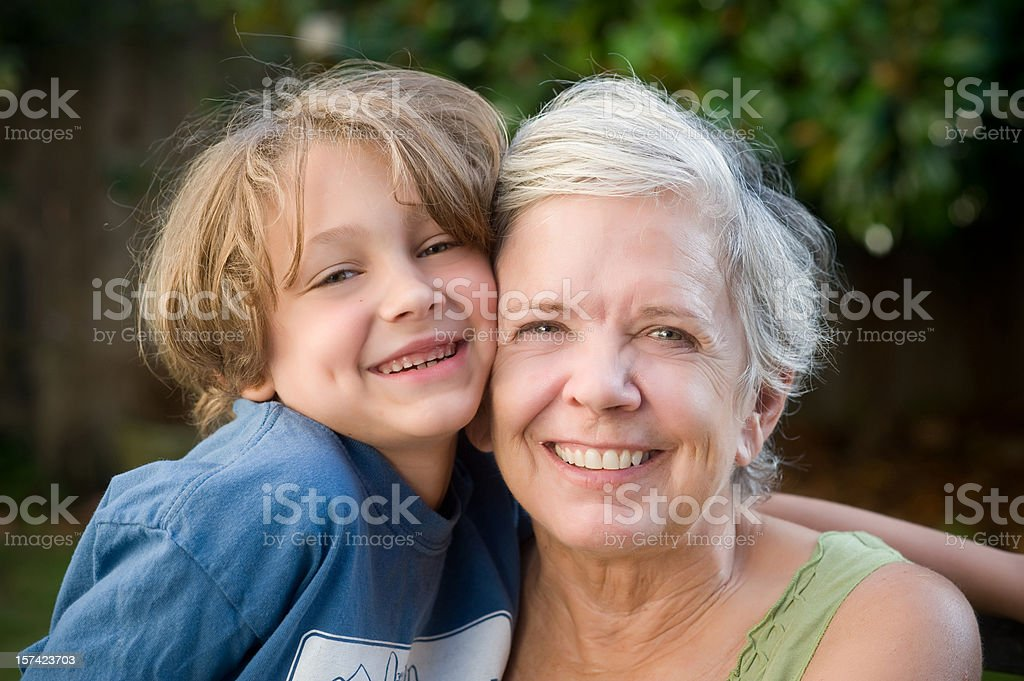 Grandmother and Grandson hugging royalty-free stock photo