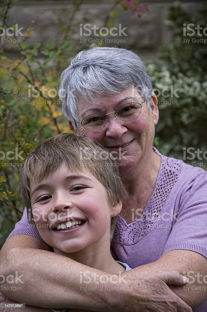 Grandmother and grandson stock photo