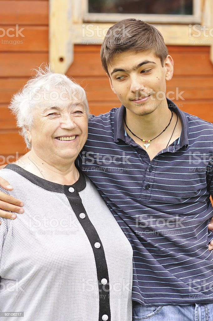 Grandmother and grandson royalty-free stock photo