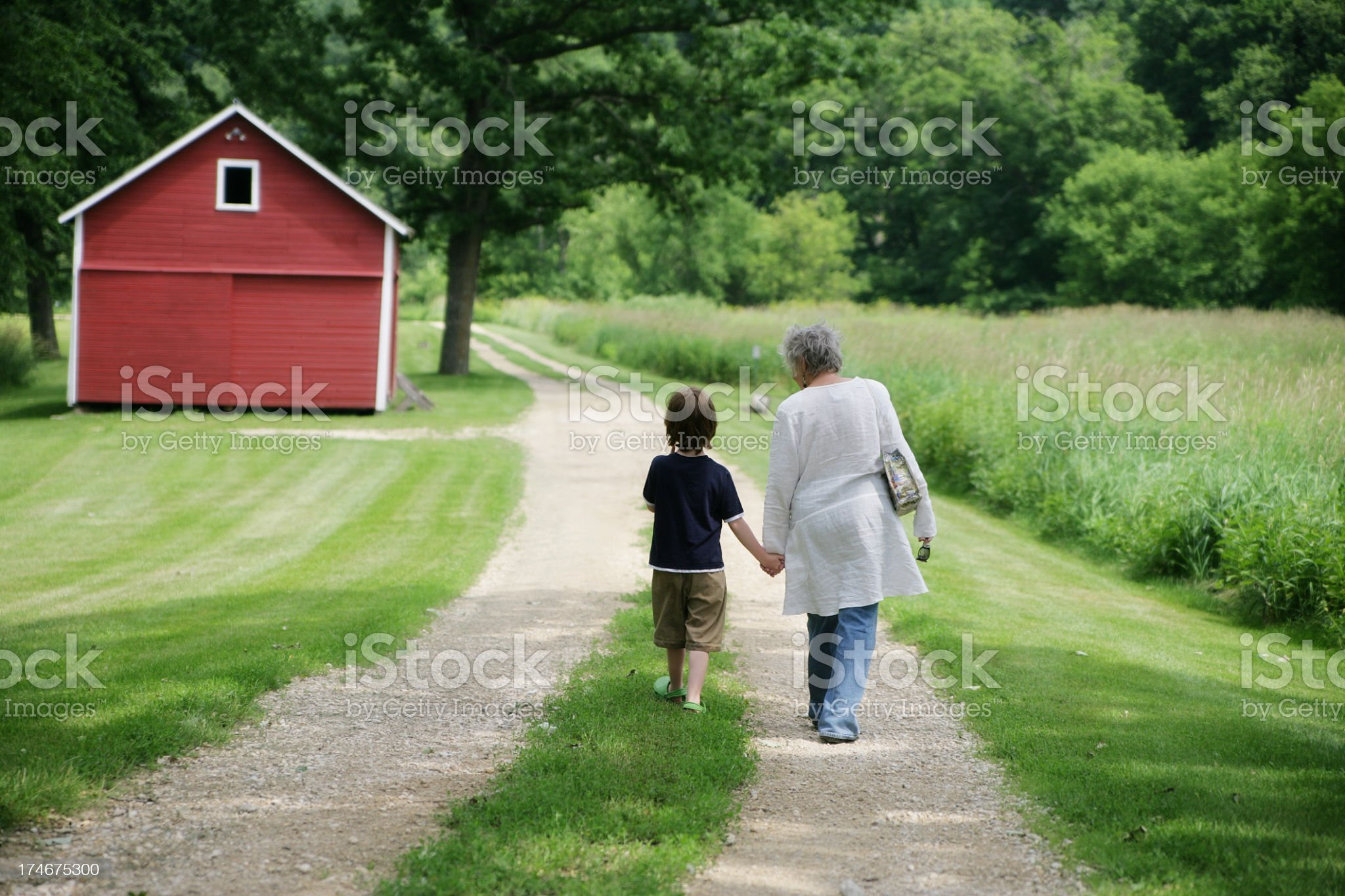 Grandmother and grandson walking on a dirt road near field royalty-free stock photo