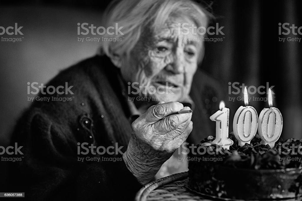 Grandmother at her birthday stock photo