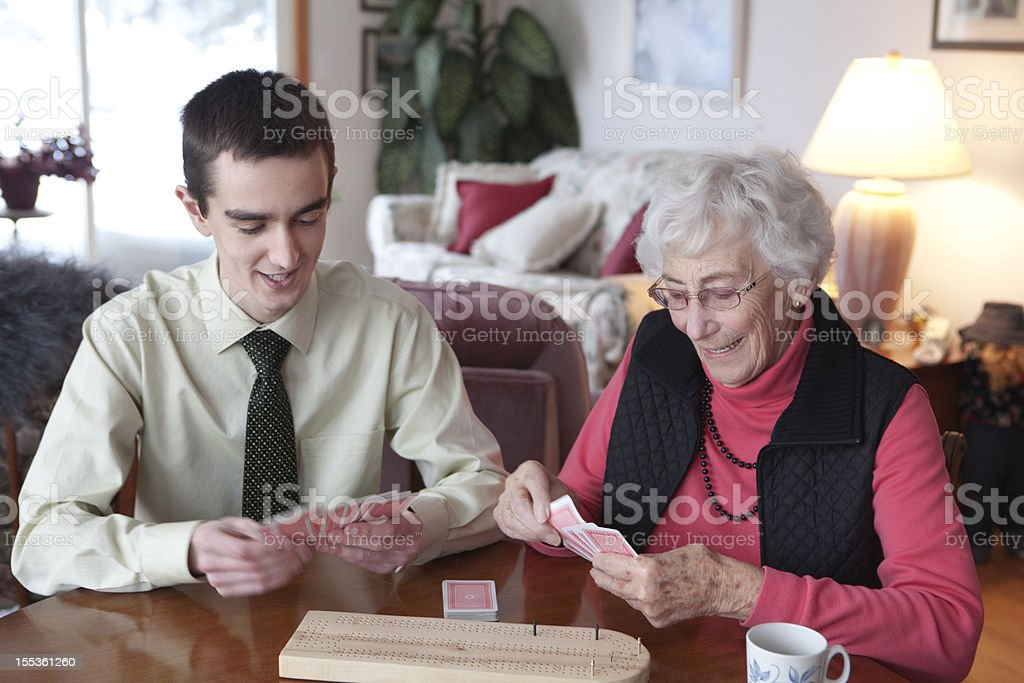 Grandmother  Card Player royalty-free stock photo