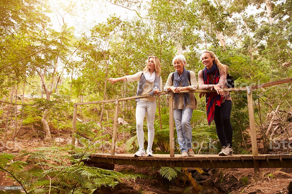 Grandmother, mother and daughter on a bridge in forest stock photo