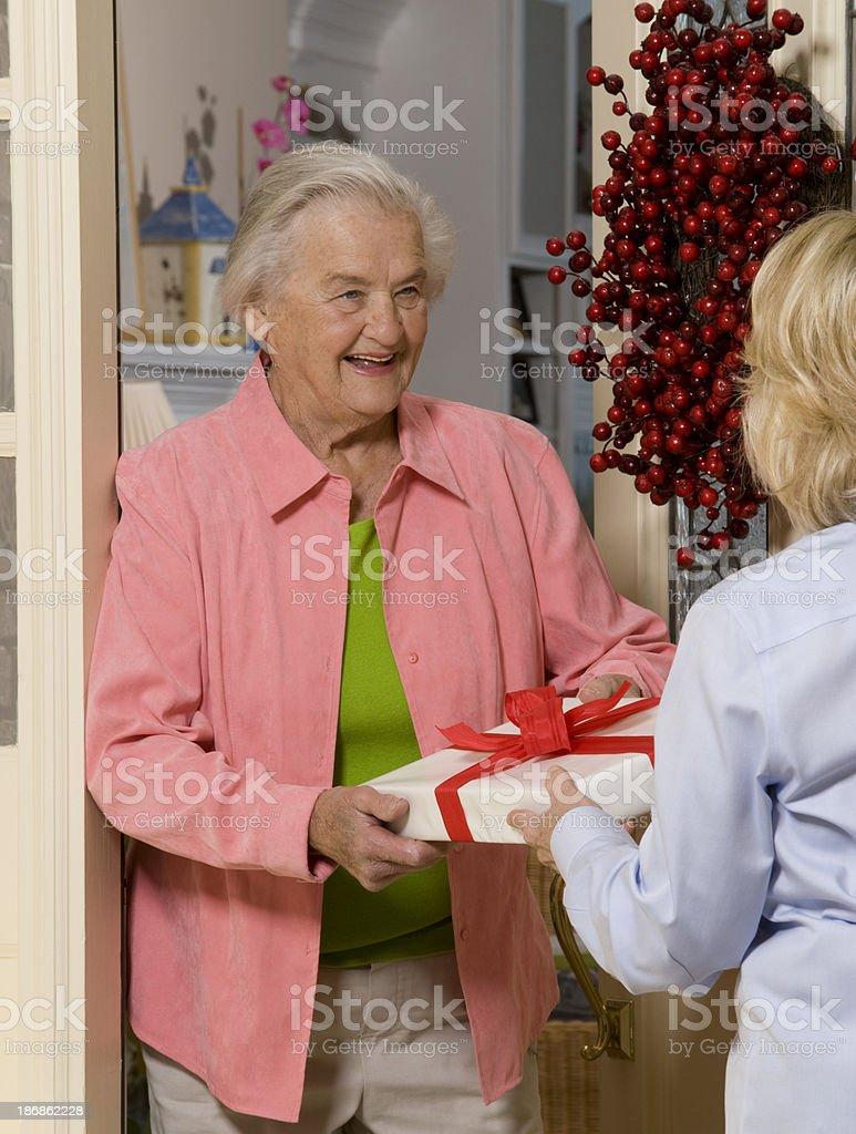 Grandmother receiving gift stock photo