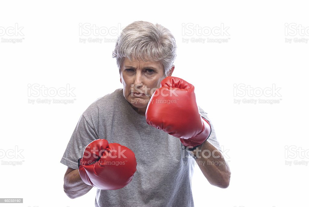 Grandmother with boxing gloves royalty-free stock photo