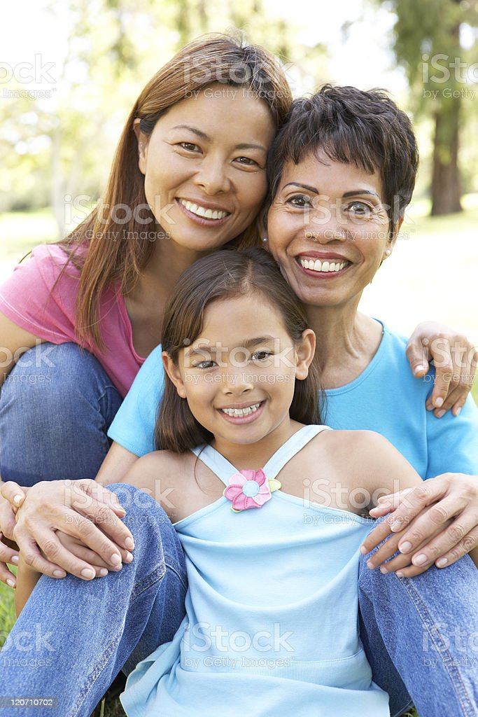 Grandmother With Daughter And Granddaughter In Park royalty-free stock photo