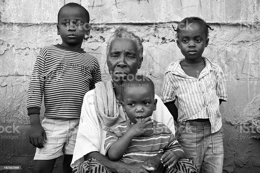 Grandmother with Grandchildren stock photo
