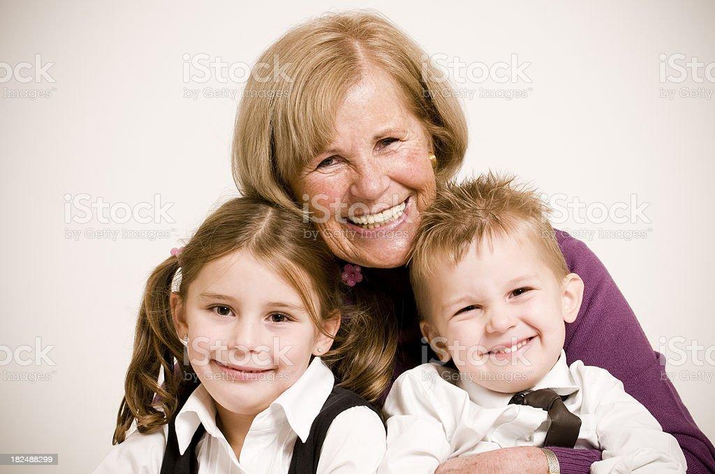 grandmother with grandchildren royalty-free stock photo