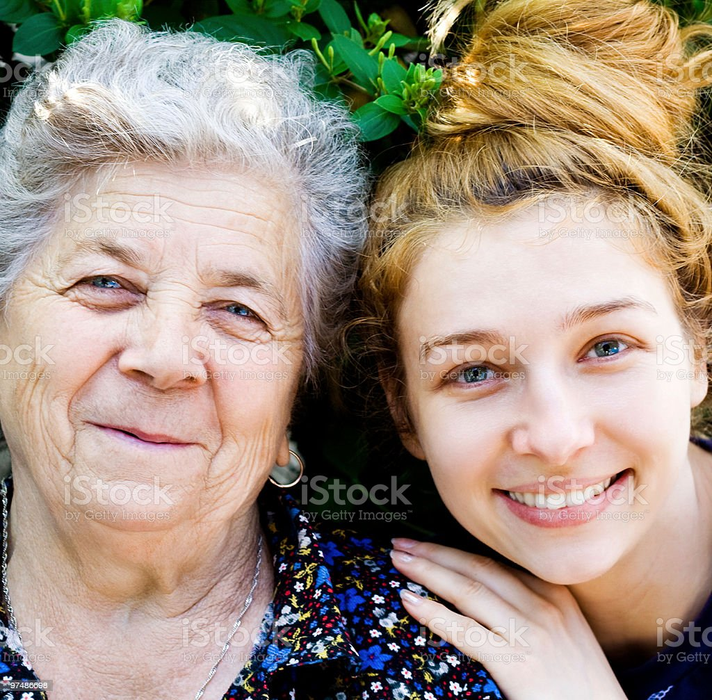 Grandmother with her grand daughter royalty-free stock photo
