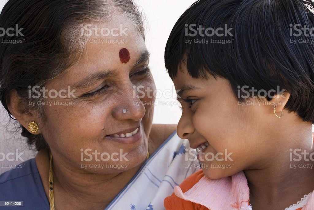 Grandmother with Kid stock photo