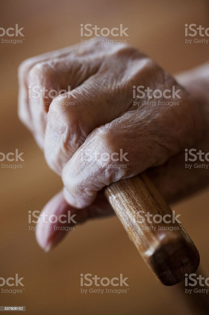 Grandmother's hand stock photo