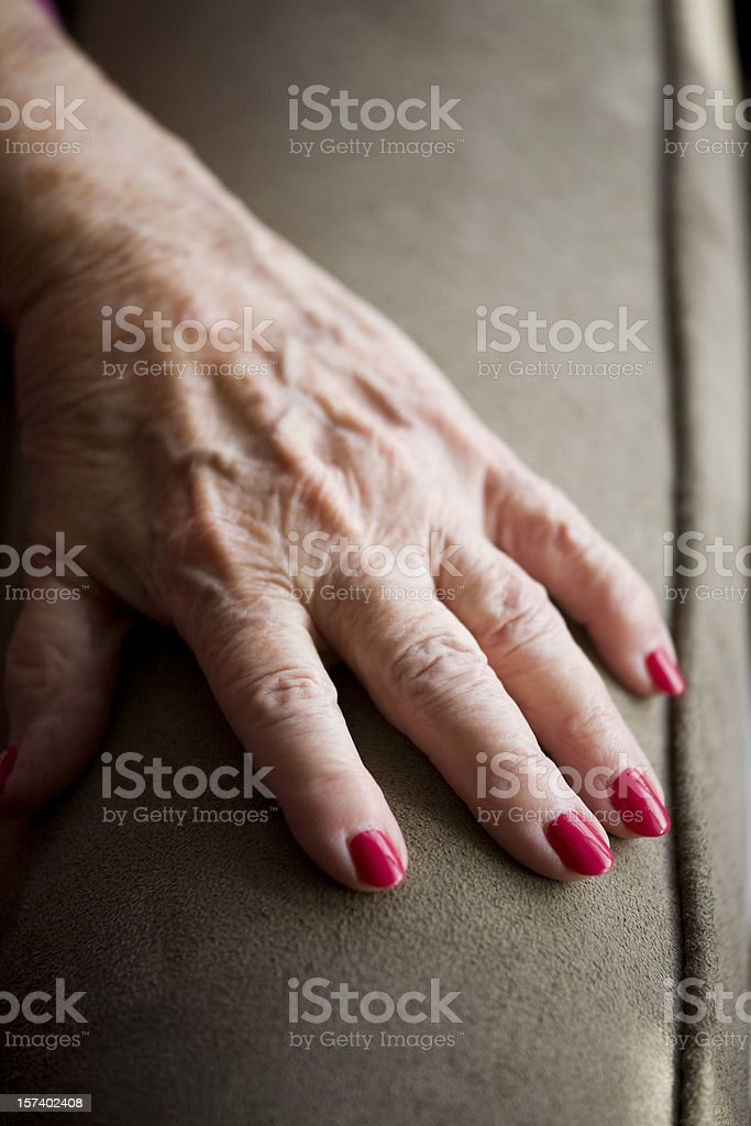 Grandmother's hand with Arthritis royalty-free stock photo