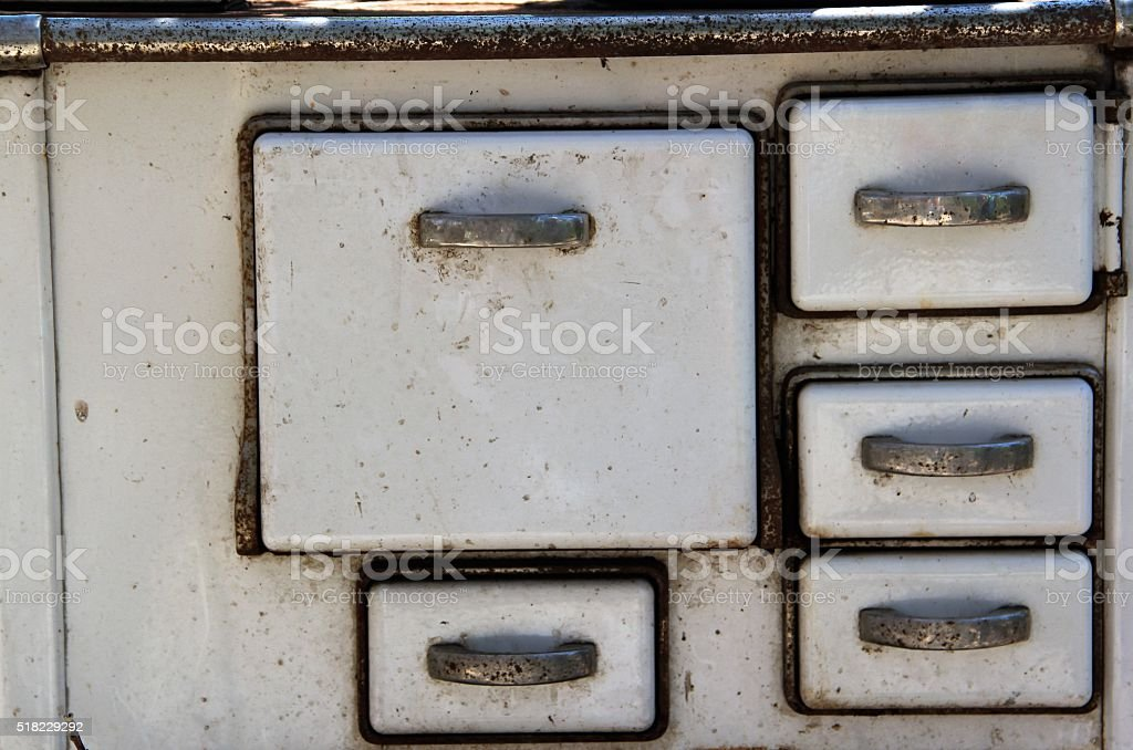 Grandmother's old kitchen stove stock photo