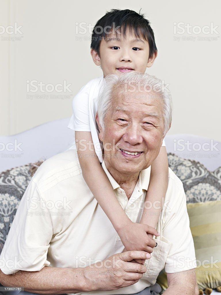 grandpa and grandson royalty-free stock photo