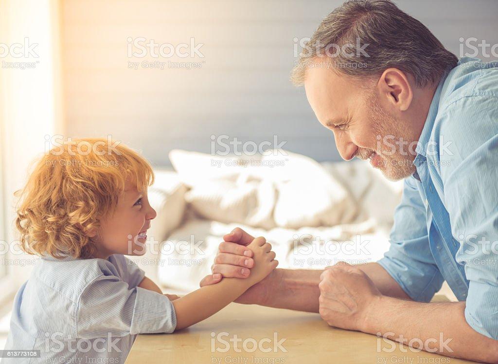 Grandpa and grandson stock photo