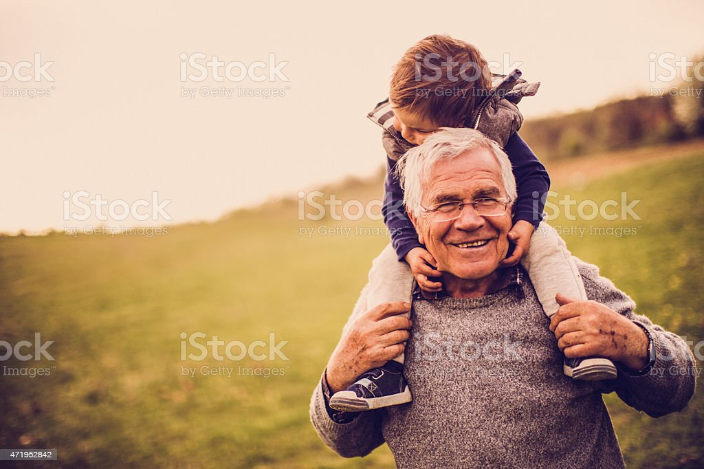 Grandpa and me stock photo