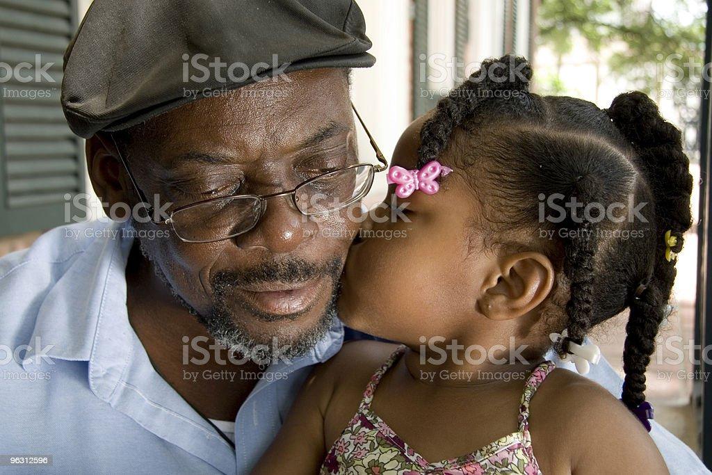 Grandpa Gets a Kiss royalty-free stock photo