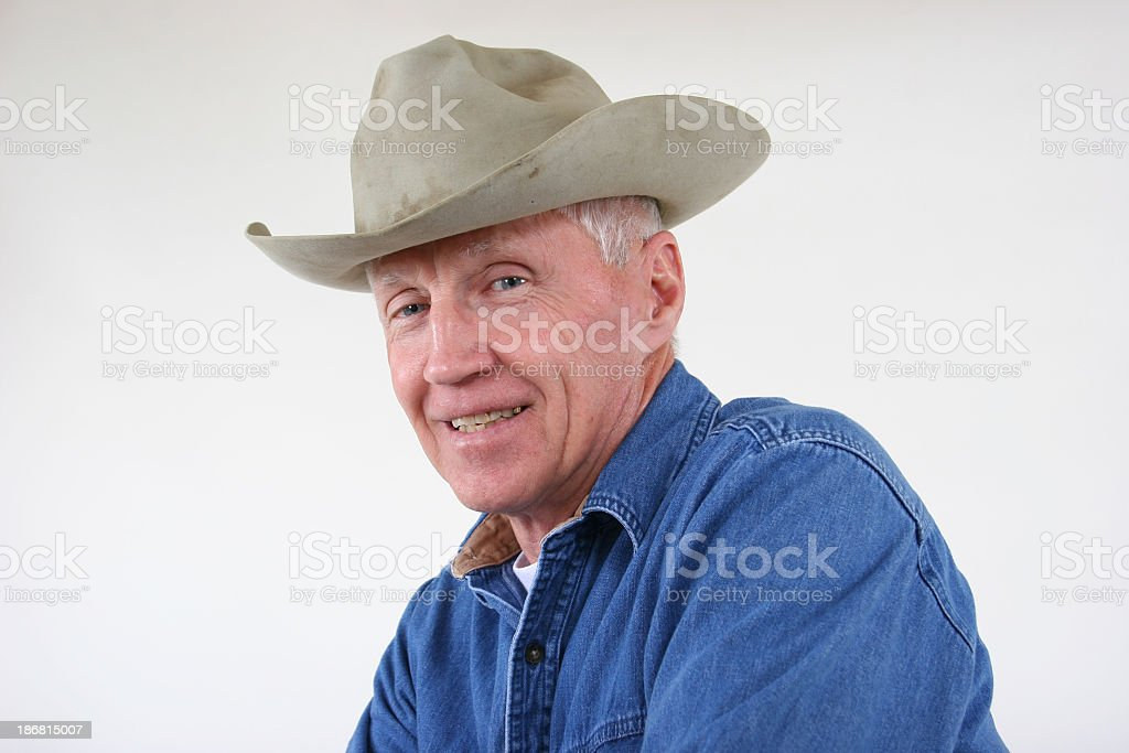 Grandpa in his old hat worn and soiled royalty-free stock photo