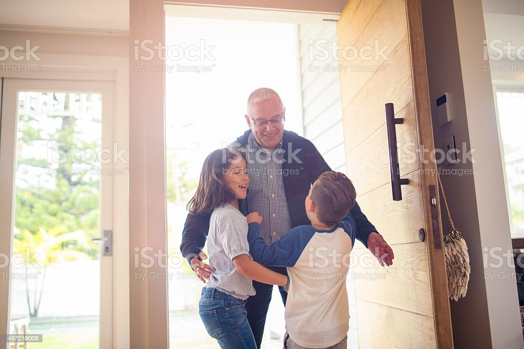 Grandpa is at home! stock photo