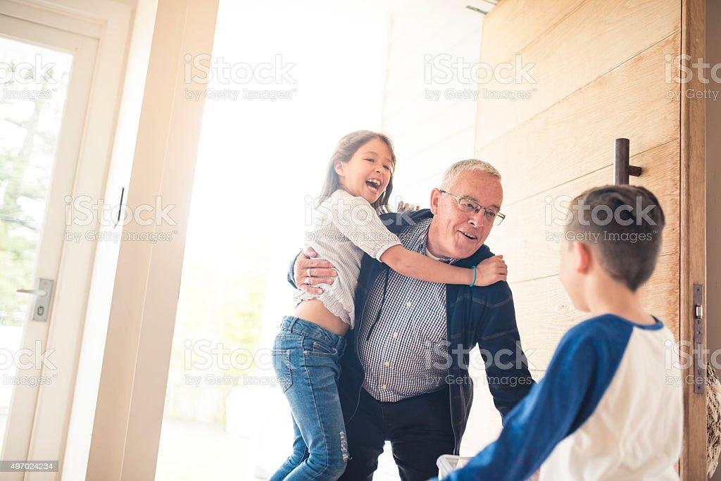 Grandpa is Here! stock photo
