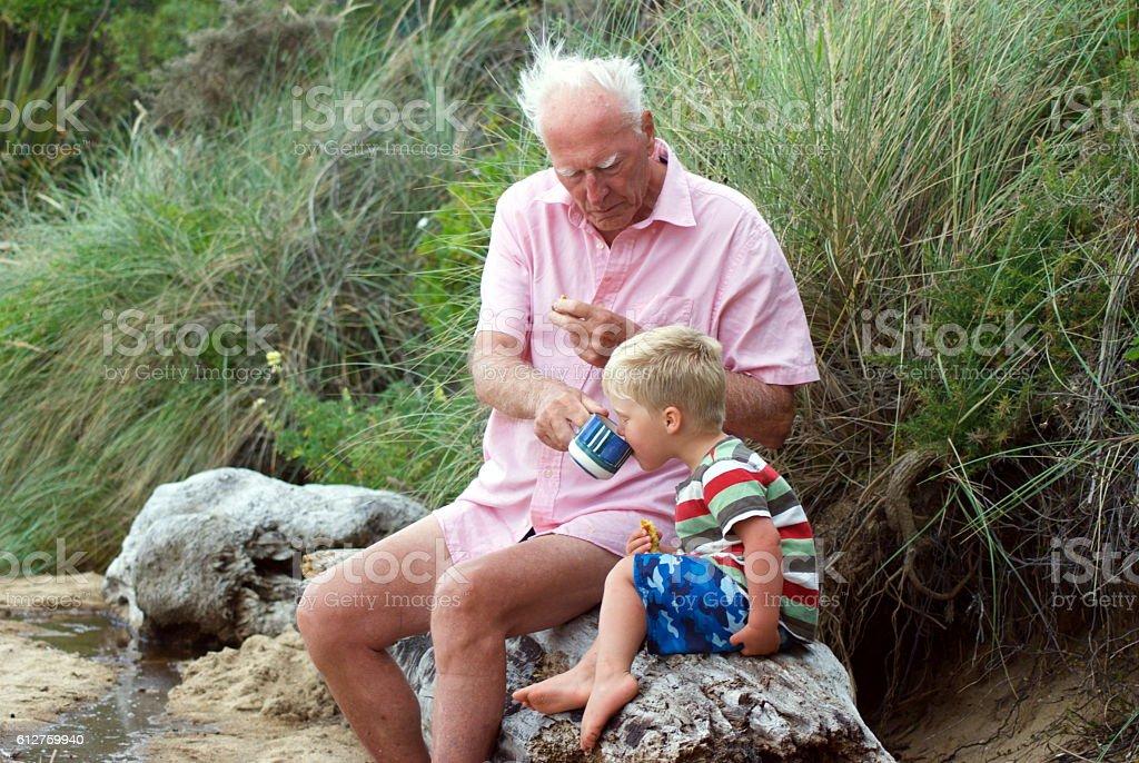Grandparent and Grandchild having Tea on Beach stock photo