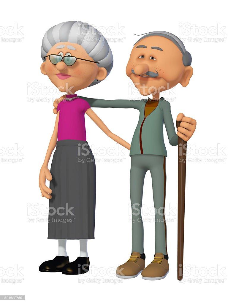 grandparents 3d stock photo