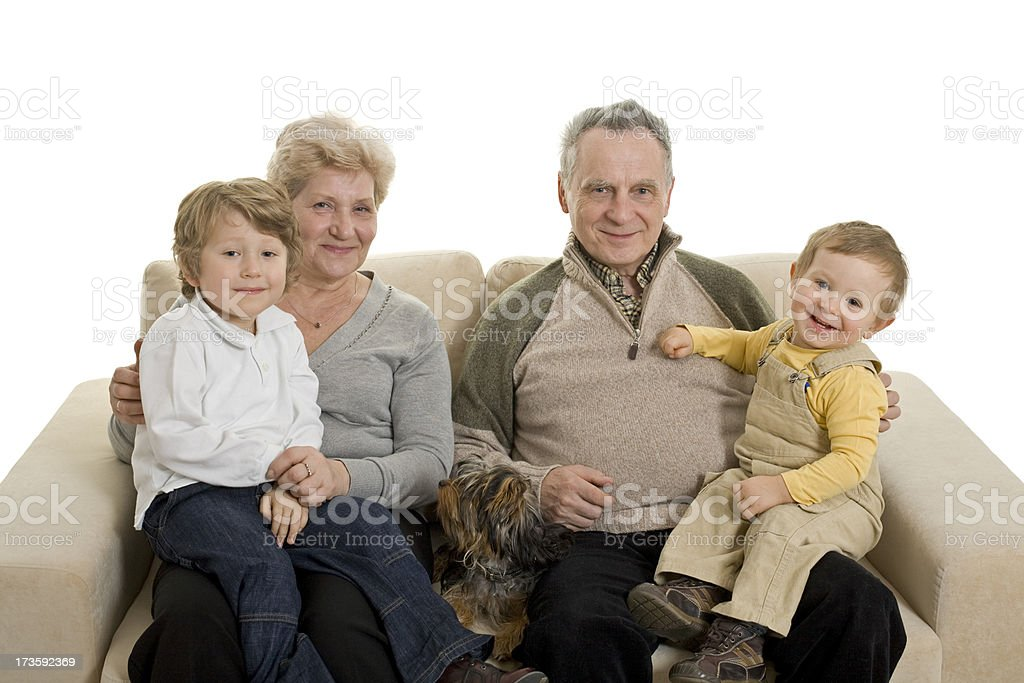 grandparents an their grandsons royalty-free stock photo