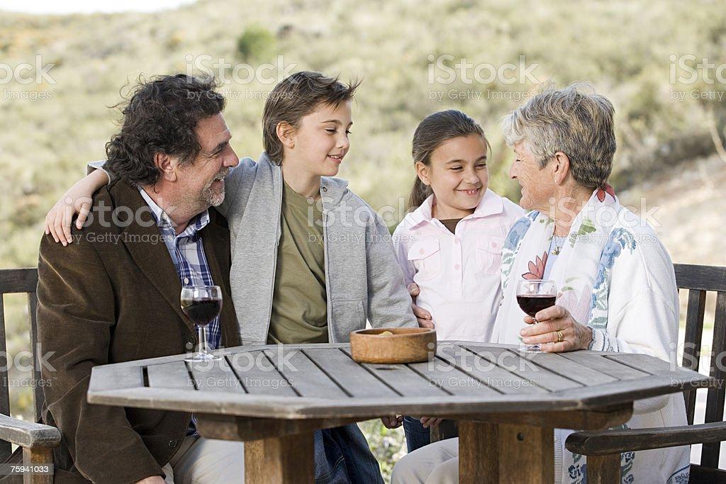 Grandparents and grandchildren stock photo