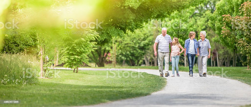 Grandparents and grandchildren walking at park stock photo