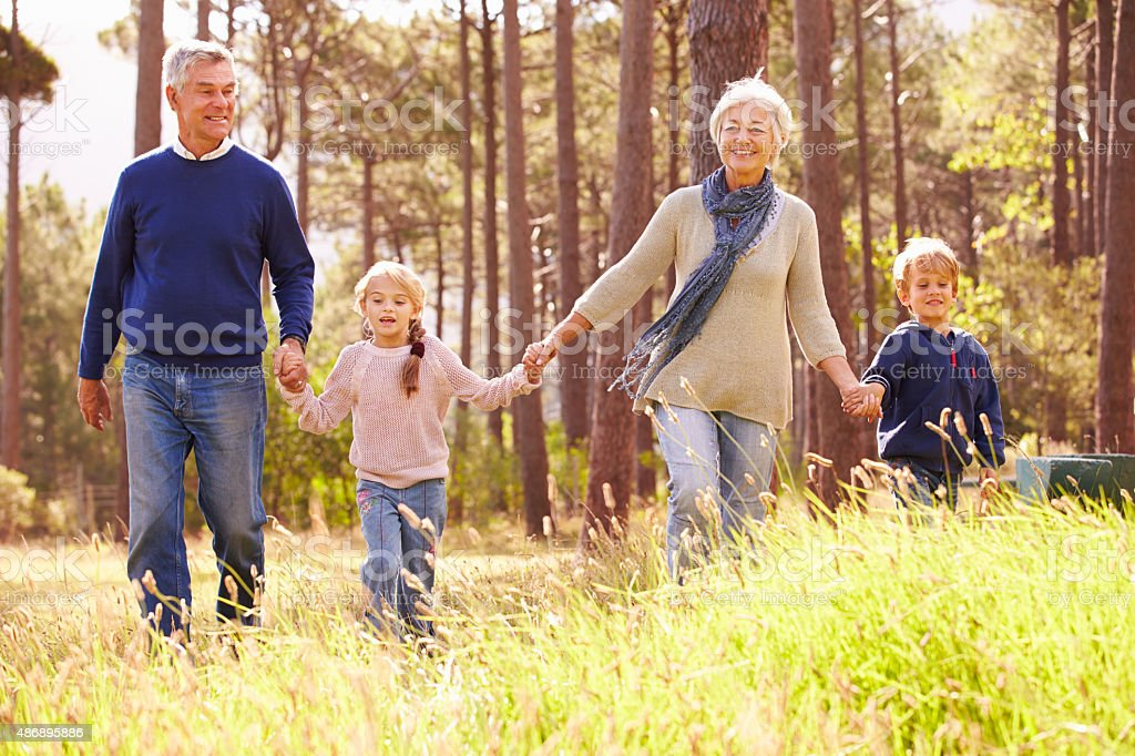 Grandparents and grandchildren walking in the countryside stock photo