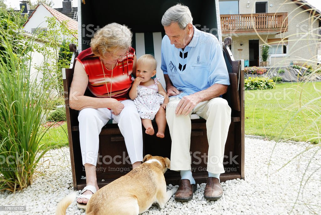grandparents and granddaughter royalty-free stock photo