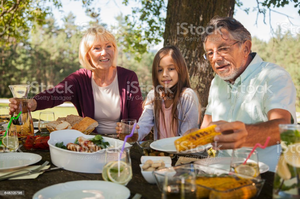 Grandparents and granddauther at picnic table stock photo