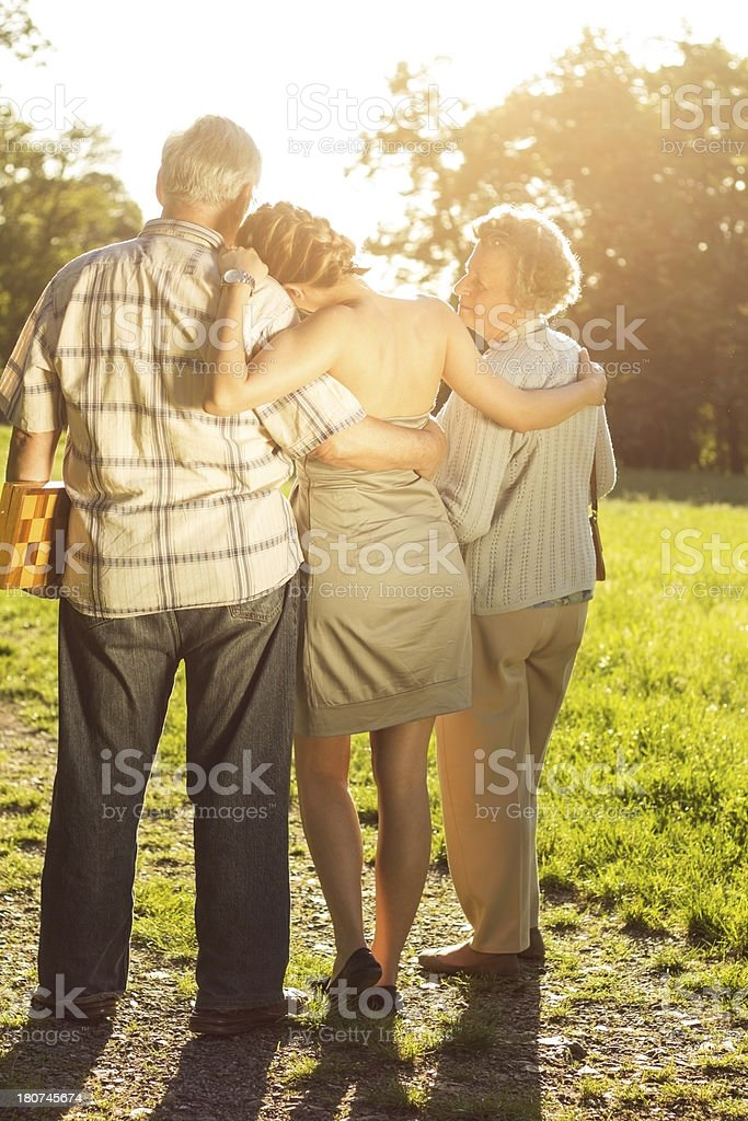 Grandparents and granddauther. stock photo