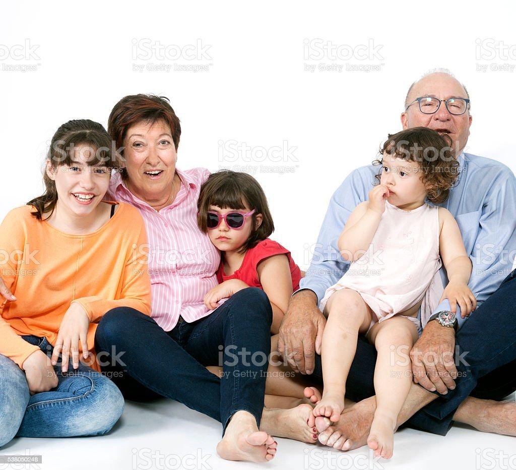 Grandparents and gransons portrait stock photo