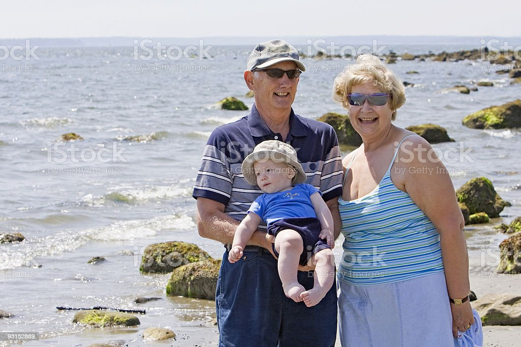 Grandparents at the beach royalty-free stock photo