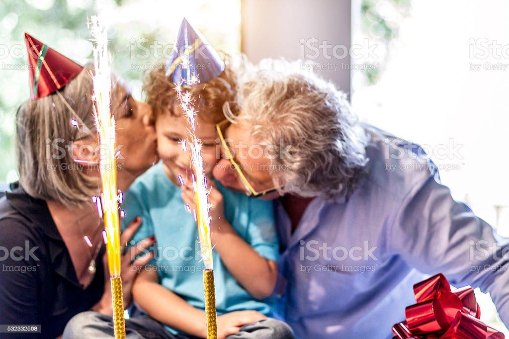 Grandparents enjoys party with nephew stock photo