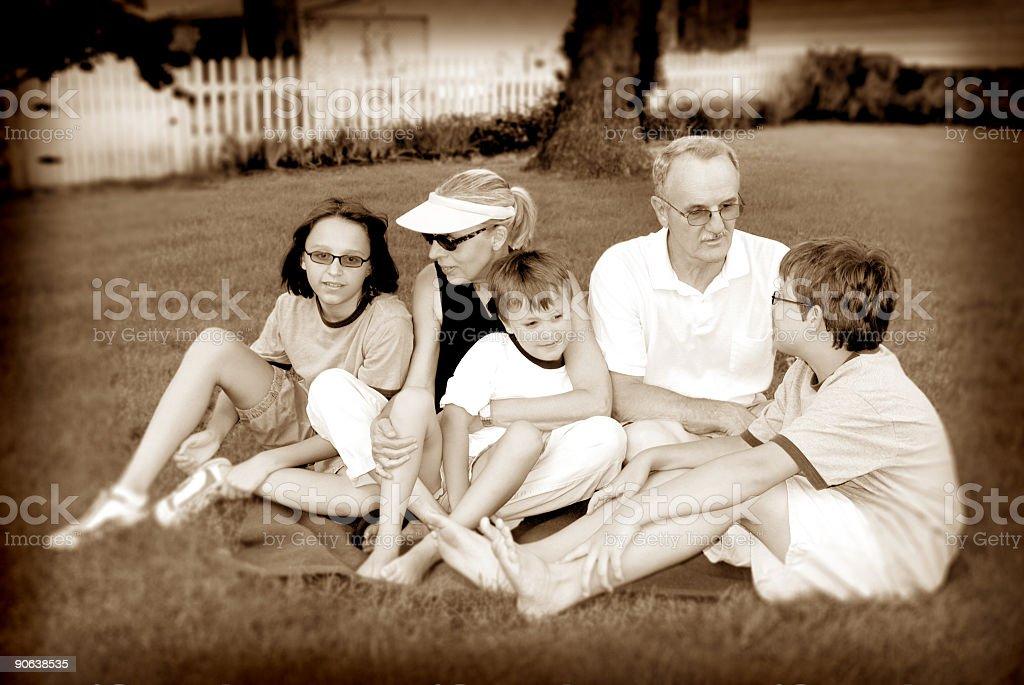 grandparents & grandchildren sepia royalty-free stock photo