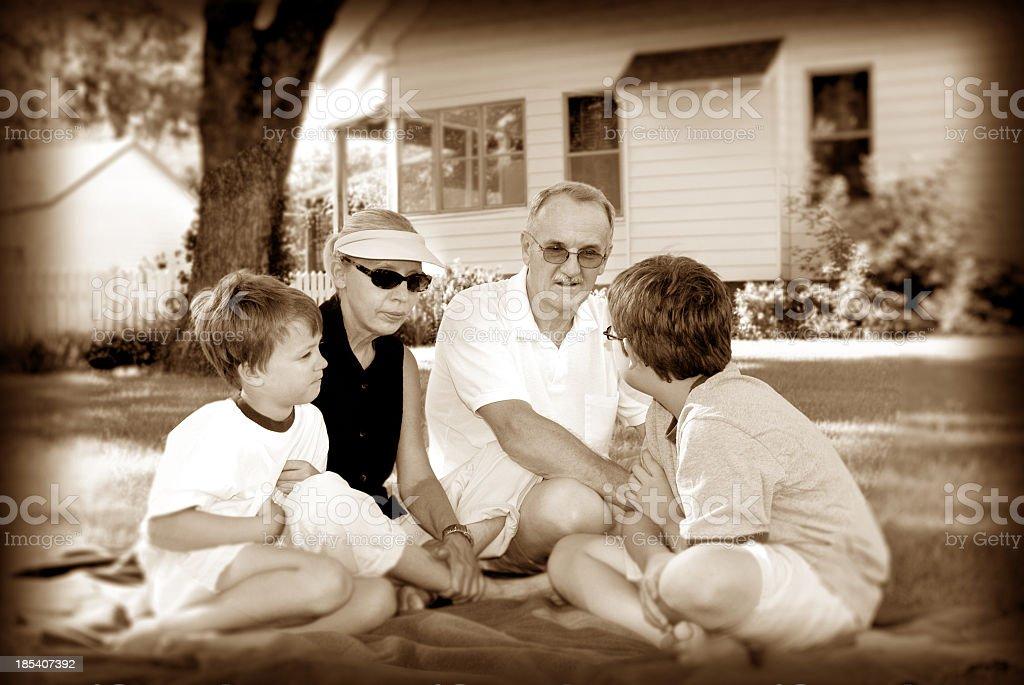 grandparents & grandkids 03 sepia royalty-free stock photo
