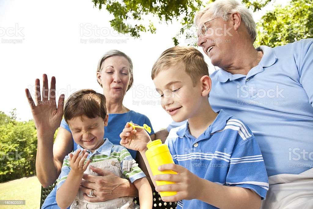 Grandparents Having Fun With Grandkids at the Park royalty-free stock photo