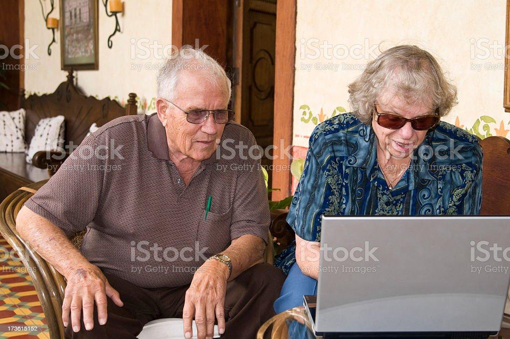 Grandparents on Laptop royalty-free stock photo