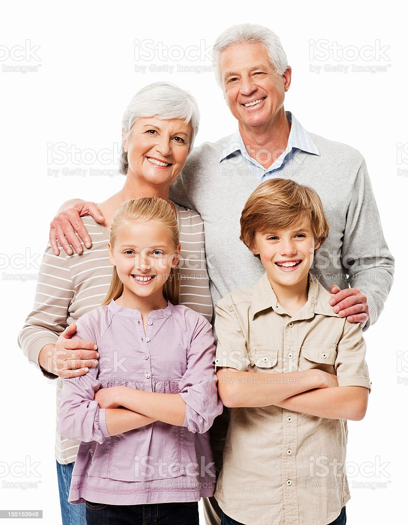 Grandparents Posing With Their Grandchildren - Isolated royalty-free stock photo