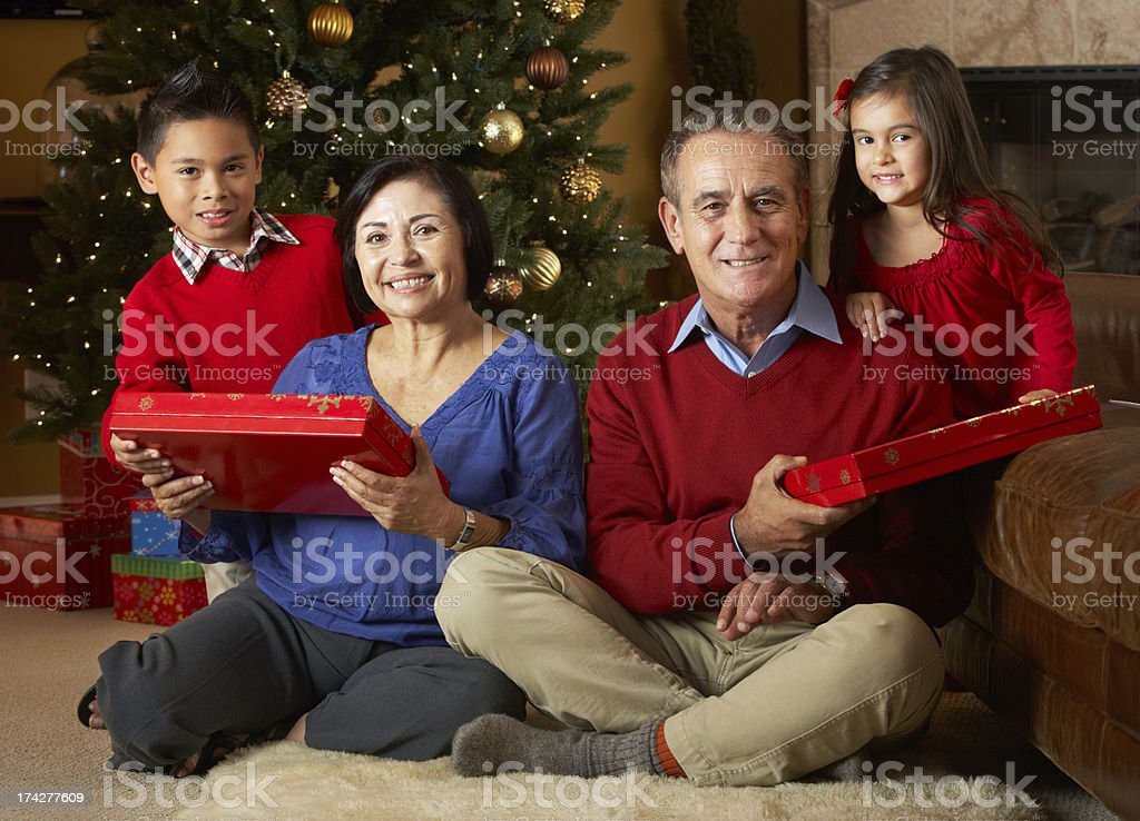 Grandparents With Grandchildren In Front Of Christmas Tree royalty-free stock photo