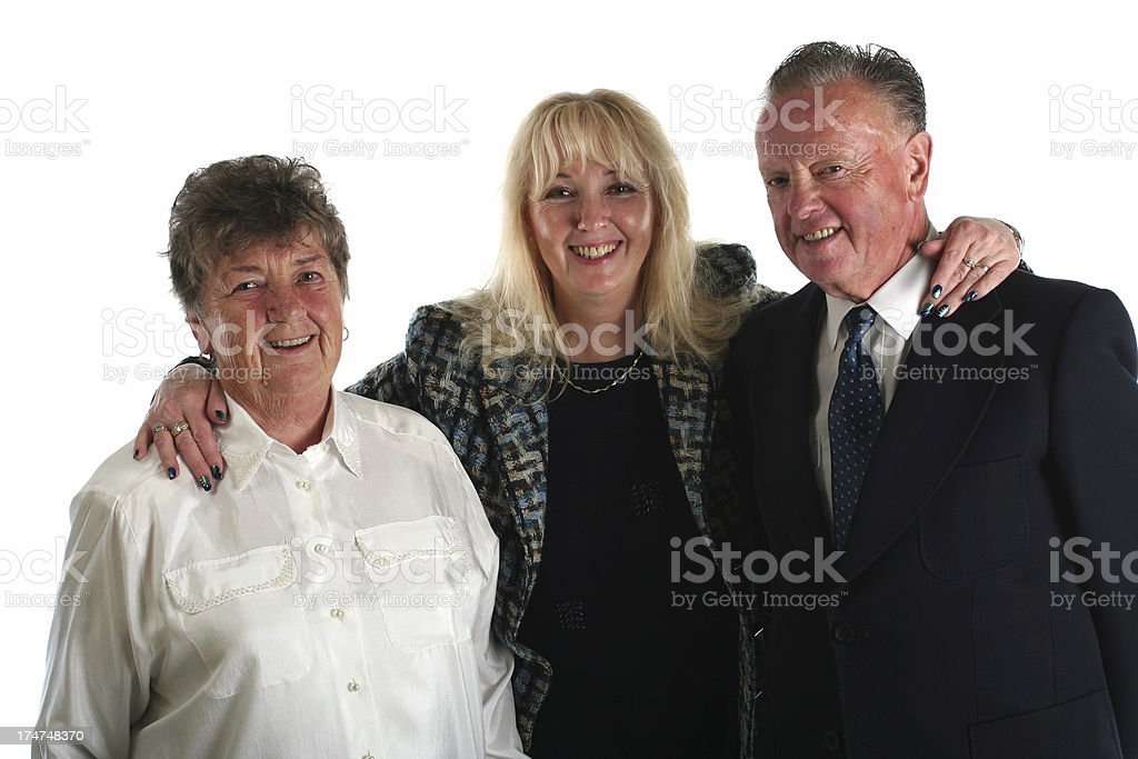 Grandparents with their adult daughter royalty-free stock photo