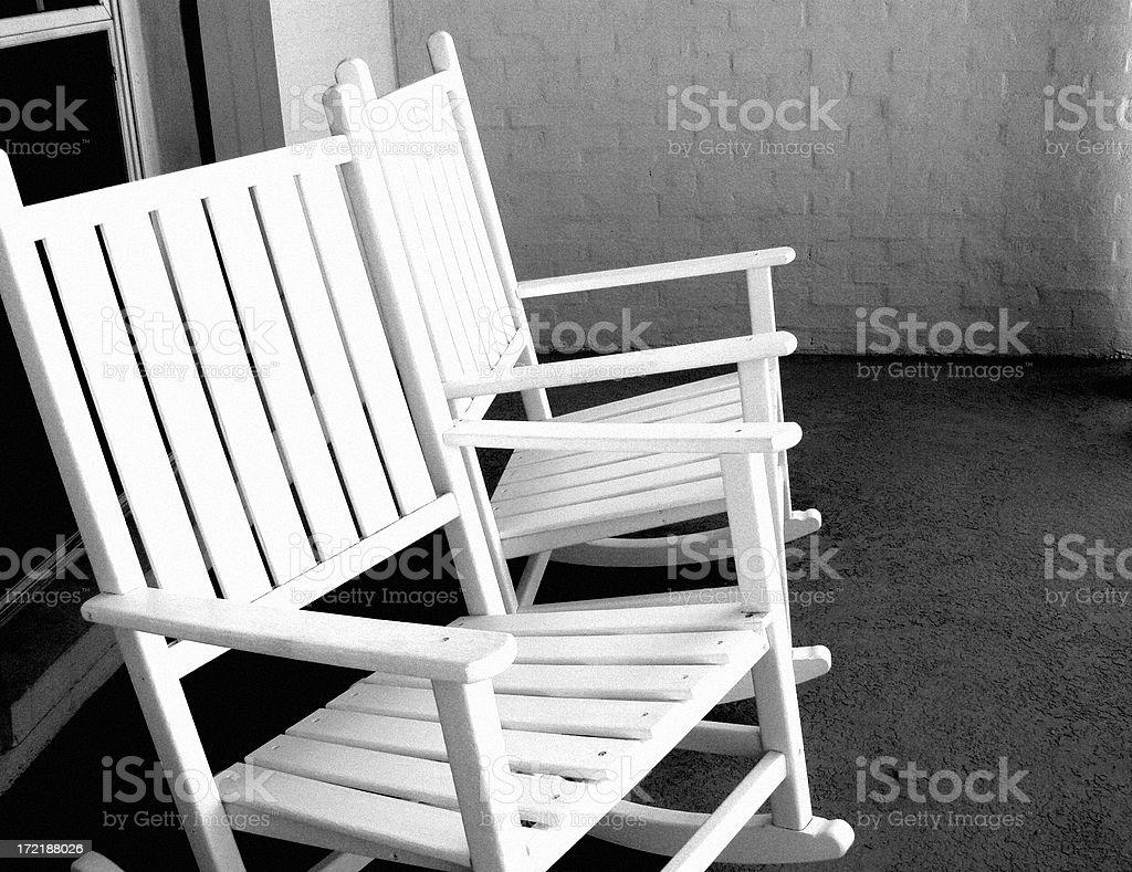 Grandpa's Rocking Chairs royalty-free stock photo