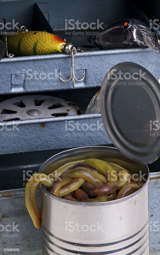 Grandpa's Tackle Box and a Can of Worms stock photo