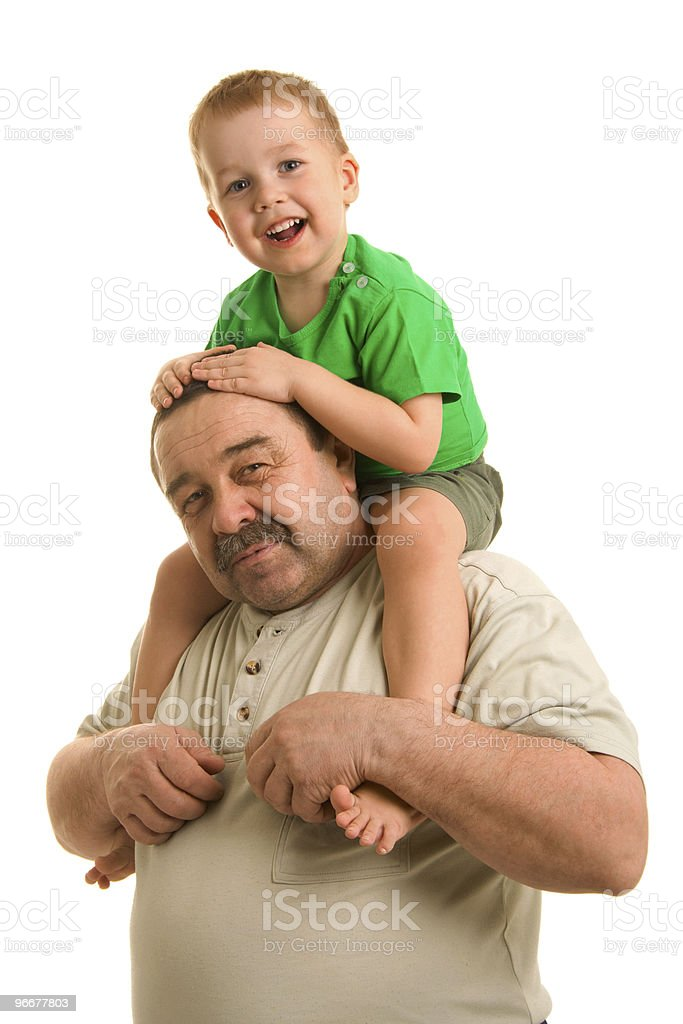Grandson and grandfather royalty-free stock photo