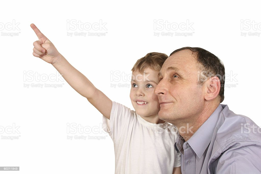 grandson finger point stock photo