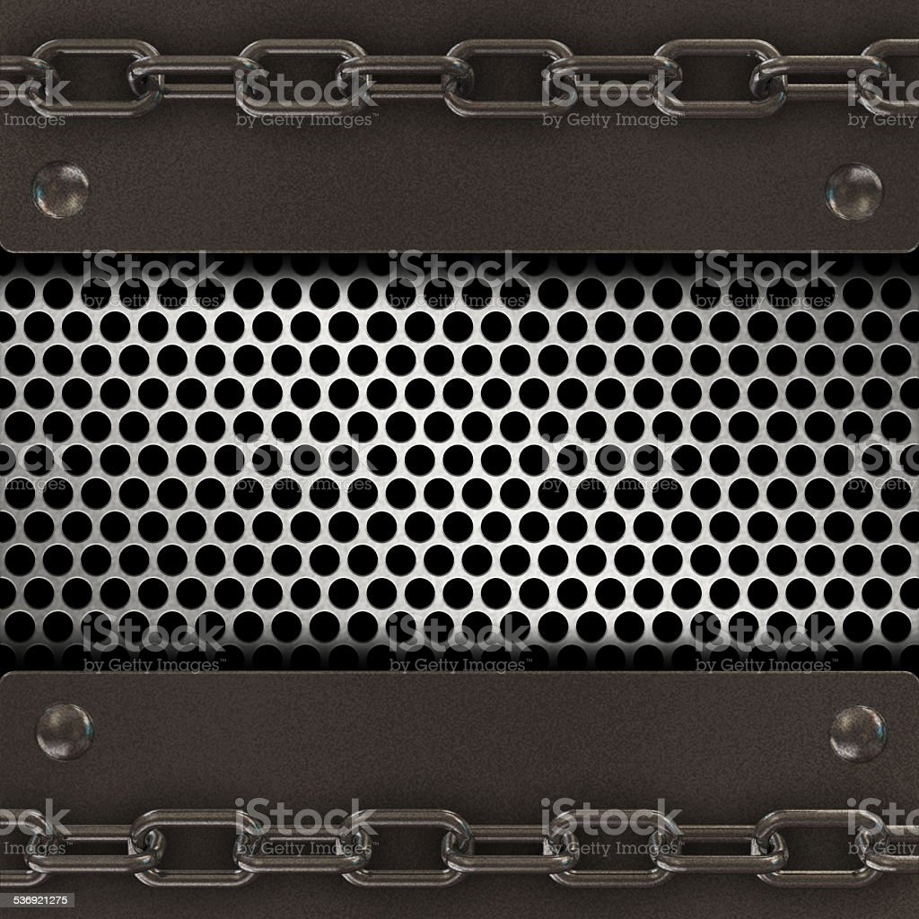 Grange metal background with chain stock photo