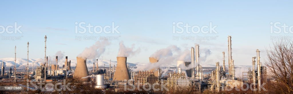 Grangemouth Petrochemical Plant.  Wide Angle Panorama. royalty-free stock photo