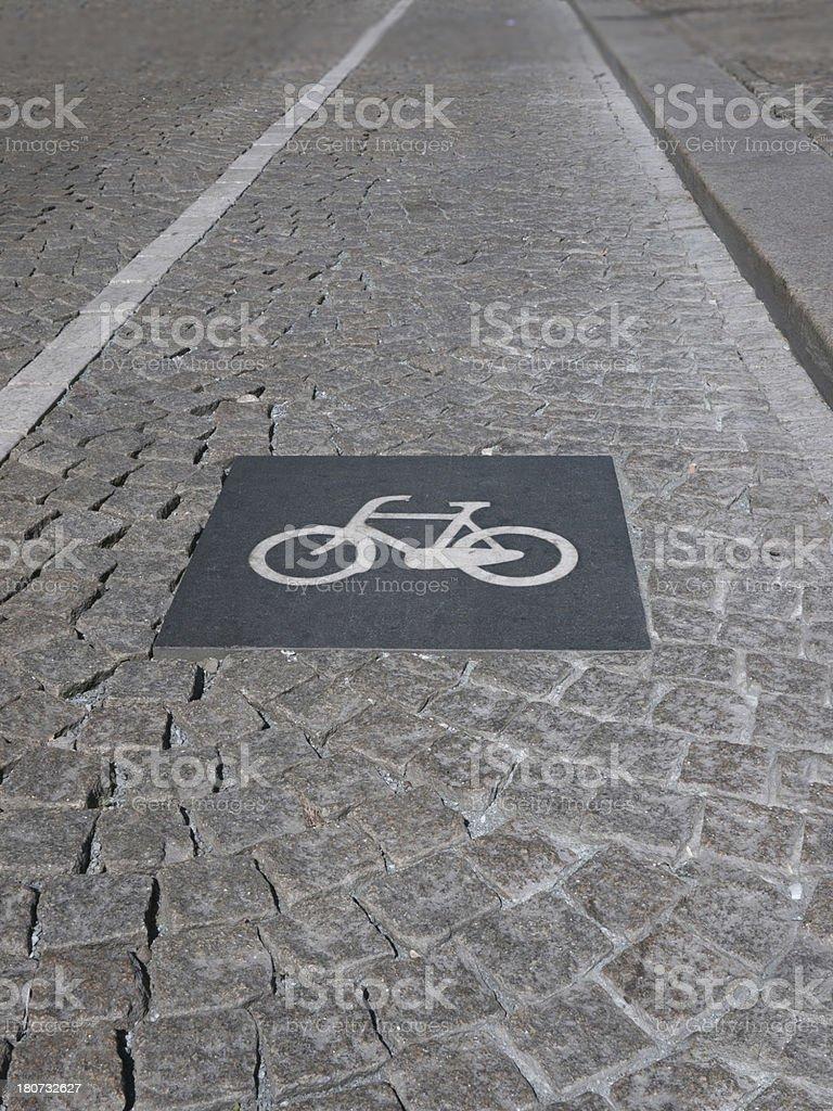 Granite Bicycle lane sign in Amsterdam royalty-free stock photo